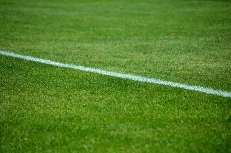 Close up view of football pitch  Detail of soccer line photo
