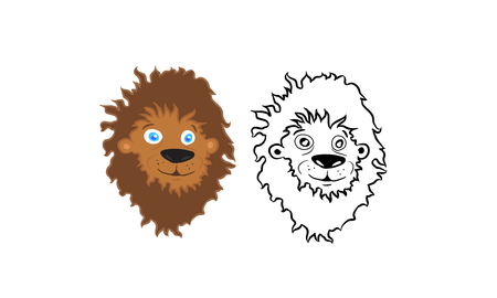 Cartoon lion head vector set Vector