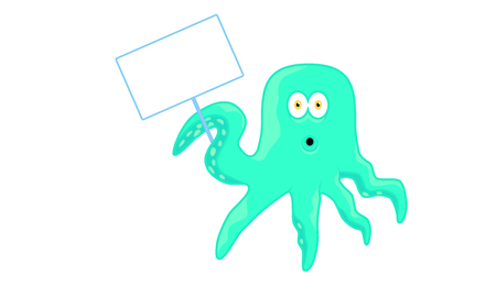 Cartoon octopus character with sign