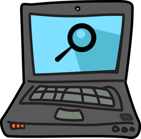 Computer laptop cartoon illustration icon with search symbol