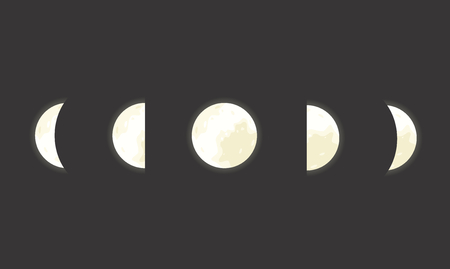 moon phases: Vector space illustration of five moon phases