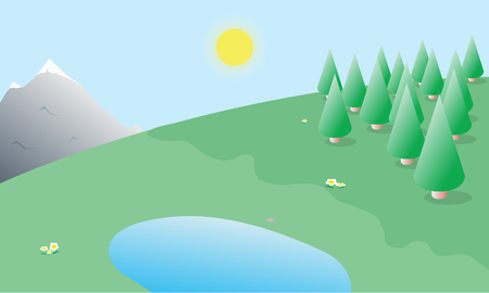 Nature landscape of sunny day with trees and flowers background illustration Vector
