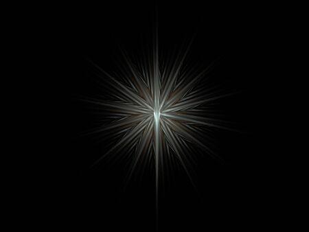 black metallic background: Abstract metallic silver frozen star symbol on black background