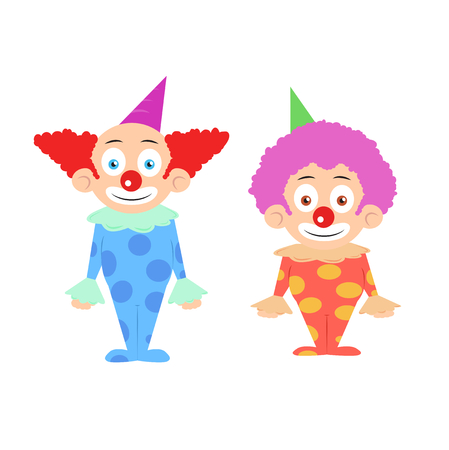 children face: Two funny colorfull clowns cartoon characters illustration vector Illustration