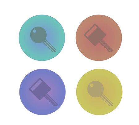 differnt: Icon collection of key symbol with differnt colour variations Illustration