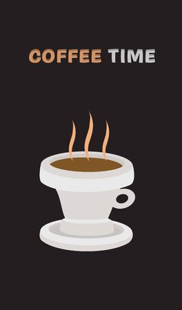 illustration of brown hot drink in white cup  Vector
