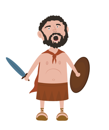 ancient greek: Spartan warrior cartoon character screaming and holding sword and shield isolated on white