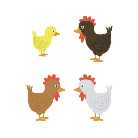 differently: a group of differently colored cartoon chickens cartoon vector illustration isolated on white background