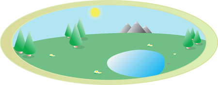 bach: Vector Bild von Sommer oder Fr�hling Landschaft der Natur mit B�umen, blauer Himmel, Sonne, Bach und Blumen in einem ovalen Rahmen Illustration