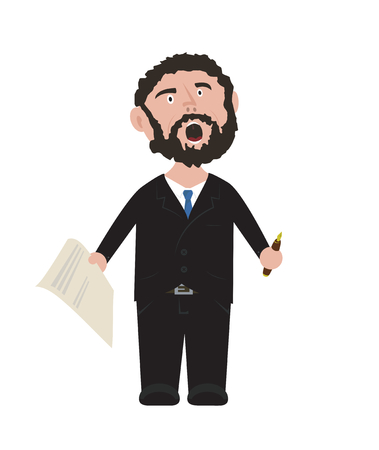 Frustrated Unshaven Businessman in black suit with blue tie holding pen and contract isolated on white background vector cartoon illustration