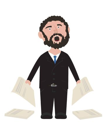 frustrated: Frustrated Unshaven Businessman screaming in black suit with blue tie holding contracts isolated on white background vector cartoon illustration Illustration