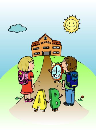 Girl and boy with letters and clock going to school illustration Vector