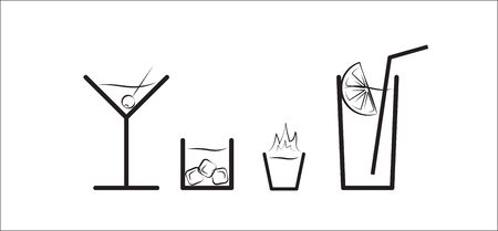fire and ice: Black and white Vector silhouette set of different alcohol drinks like martini, drink with ice cubes, burning shot and cocktail Illustration