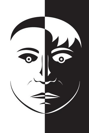 oppos: Vector illustration face silhouette t�te visage noir et blanc avec vue d�sagr�able Illustration