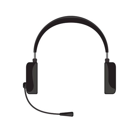 dj headphones: Vector illustration of simple black gray headphones with microphone on white background