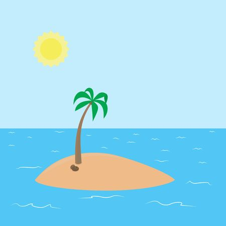 Deserted tropical island with beach and coconut palm surrounded by the sea and sky with the sun vector cartoon background