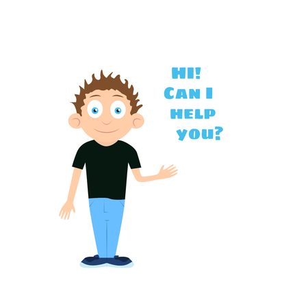 head i: Vector support man boy cartoon character offering help with text HI Can i help you over his head isolated on white background Illustration