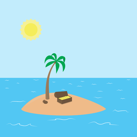 Cartoon vector background Treasure Island with palm, chest full of money in coins and coconut surrounded by ocean and sky with sun Vector
