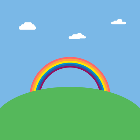 over the hill: Vector illustration of Landscape background with rainbow over green hill and blue sky with clouds Illustration
