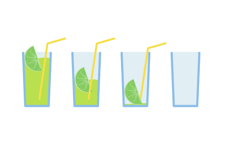 Vector illustration Set of green lemon coctail drink with yellow straw in stages from full to empty Illustration