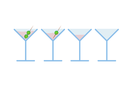 coctail: Vector illustration Set of light pink martini coctail alcoholic drink with olive on toothpick in stages from full to empty