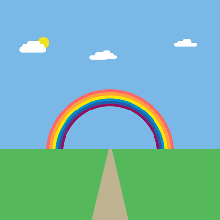 dirt road: Vector illustration background landscape of green nature with blue sky and dirt road under the rainbow