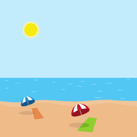 verano: Ilustración vectorial de las vacaciones en el mar con la toalla verde y naranja y un paraguas azul y rojo en la playa en un día soleado