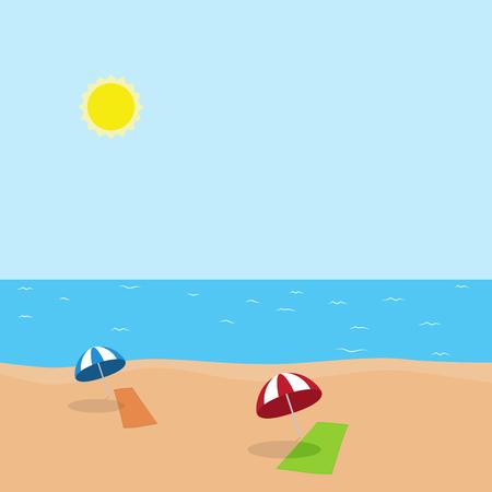 Vektor-Illustration von Urlaub am Meer mit grün und orange Handtuch und blauen und roten Sonnenschirm am Strand im sonnigen Wetter