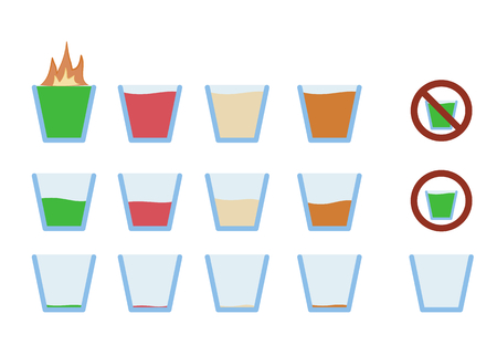 glass half full: Vector illustration of flat icon design alcohol shot drink in glass phase from full to empty