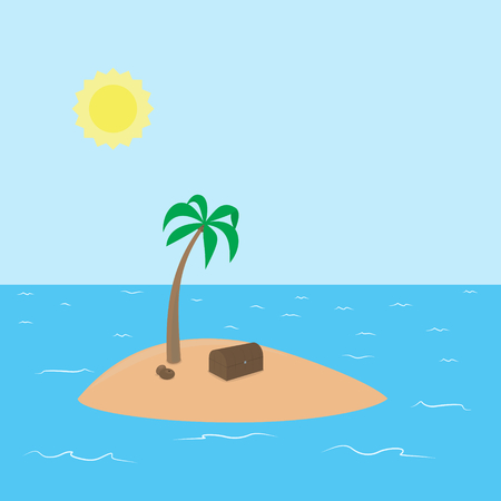deserted: Pirate deserted tropical island with hidden treasure, palm and coconut surrounded by the sea and sky with sun