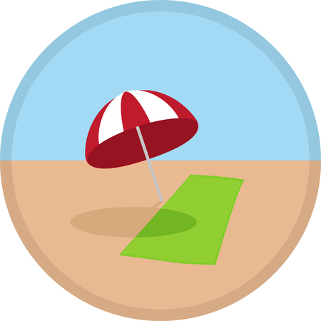red umbrella: Vector illustration icon symbol of summer time on beach, green towel and red umbrella