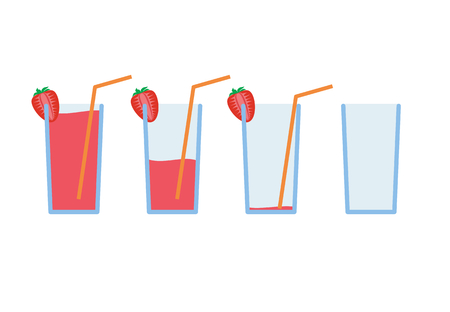 glass half full: Vector illustration Set of red strawberry coctail drink with orange straw in stages from full to empty Illustration