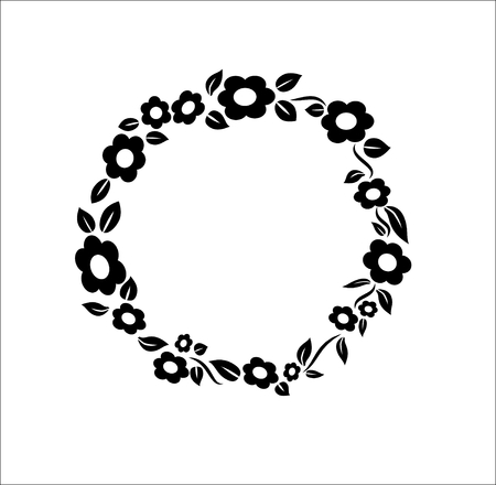 Black and white vintage Flower circle ring frame decoration wedding stamp vector illustration
