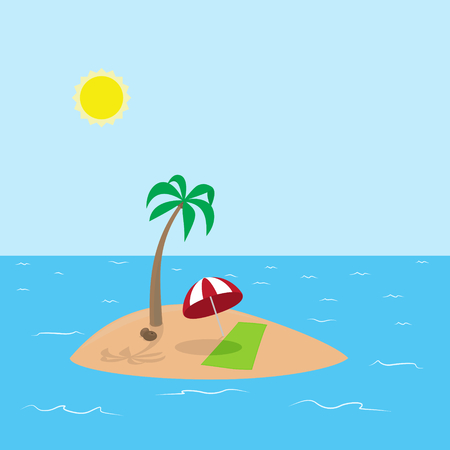 deserted: Vector Illustration of tropical island with coconut, palm tree, red umbrella and green towel In sunny day on a deserted island
