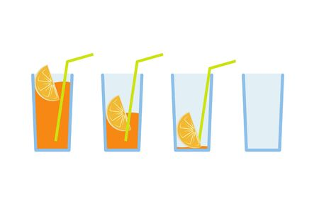 multivitamin: Vector illustration Set of green lemon coctail drink with yellow straw in stages from full to empty Illustration