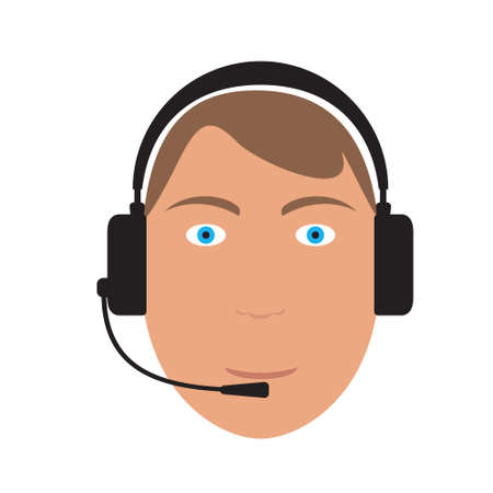 head support: Vector cartoon head of business telephone support man wearing headphones with microphone on white background