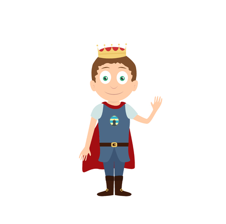 fairytale character: Young prince or king with gold crown on head standing and waving vector cartoon character isolated on white Illustration