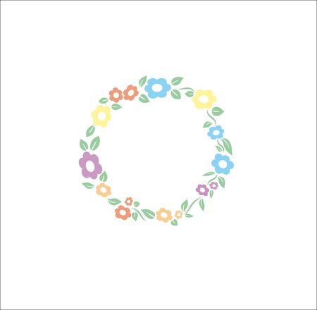 circle flower: Vector illustration flower different pastel color circle frame background suitable for wedding or else invitation card