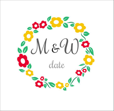 circle flower: Cute simple nice Vector flower circle wedding stamp with place for name of bridegroom and bride with date invitation card