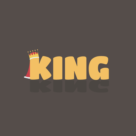 Vector illustration of gold king text with shadow where K have a crown and red cloak with fur on brown background