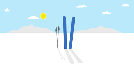 winter sky: Vector cartoon idyllic winter landscape nature illustration with blue skis and poles in snow with shadow. Clear winter sky with sun and clouds.