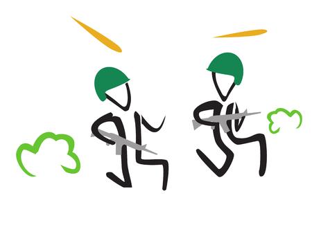 Stick figures de soldat. Illustration simple Banque d'images - 75626537