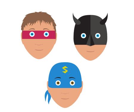 Bande dessinée illustration du garçon avec le costume de super héros tête Banque d'images - 75369458