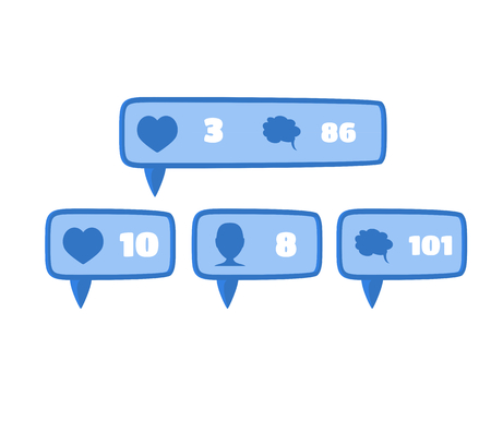 follower: Like, follower and comment social media button icon signs flat design in blue color with white numbers Illustration