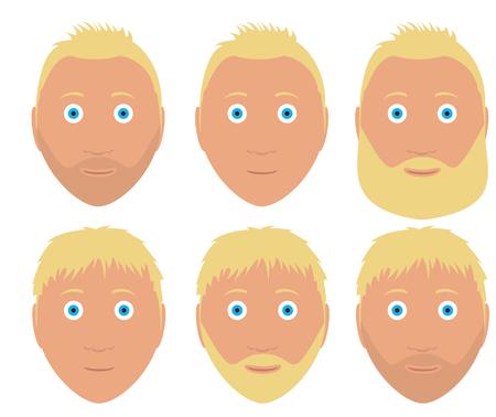 capelli biondi: Set di vettore uomo affronta con differente acconciatura pantaloni a vita bassa e la barba con il colore biondo