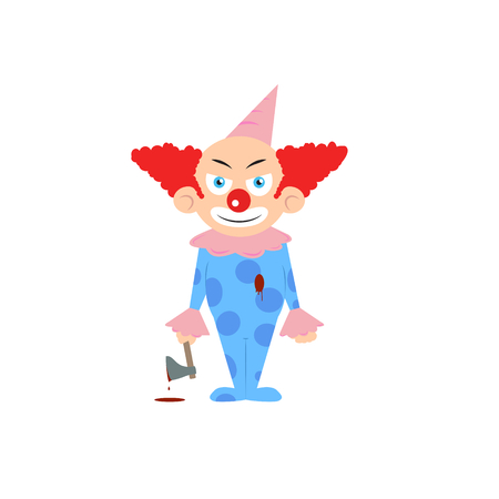 dark eyes: Scary vector cartoon character of halloween clown with evil eye holding axe with blood stains