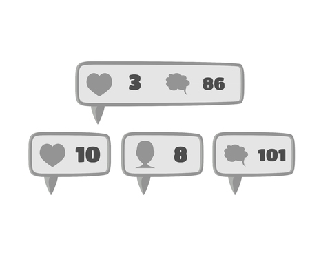 follower: Like, follower and comment social media button icon signs flat design in gray color with white numbers