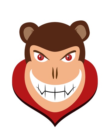 head collar: Scary vector character of halloween dracula monkey head with red eye and fangs and red collar cape
