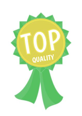 Médaille d'or avec ruban vert et texte de qualité TOP. illustration vectorielle Banque d'images - 75626538