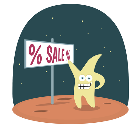 luna caricatura: Yellow Star standing on brown planet in space showing sign with text sale vector background